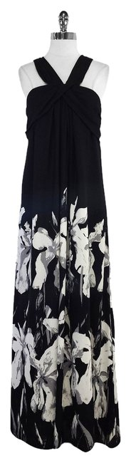 Preload https://item4.tradesy.com/images/halston-black-and-white-floral-print-silk-long-casual-maxi-dress-size-8-m-5994823-0-0.jpg?width=400&height=650