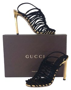 Gucci Black Suede Strappy Sandals