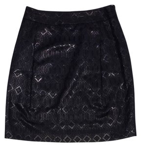 Tory Burch Black Metallic Diamond Print Skirt