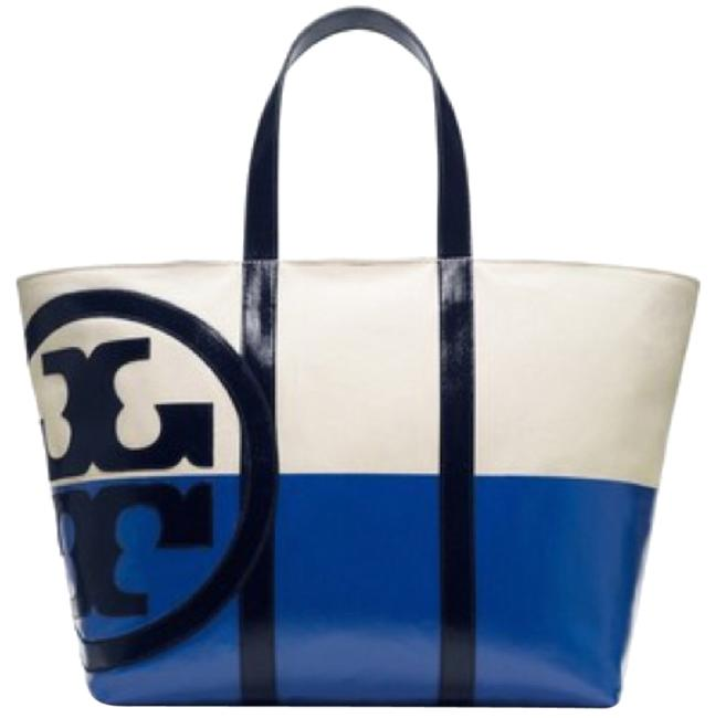 Item - Large Dipped Beach Tote New - Never Used Ivory/Blue Canvas Weekend/Travel Bag