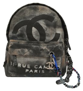 Chanel Graffiti Runway Designer Metal Charms Backpack