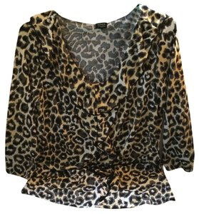 Rafaella Longsleeve Top Gray Black Animal Print