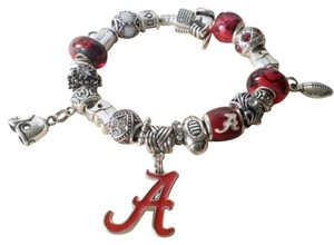 Alabama Football themed Authentic Pandora Bracelet with European Charms Authentic PANDORA Bracelet With European Charms Alabama Crimson Tide Theme