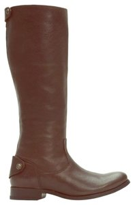 Frye Leather Button Zip Midcalf Brown Boots