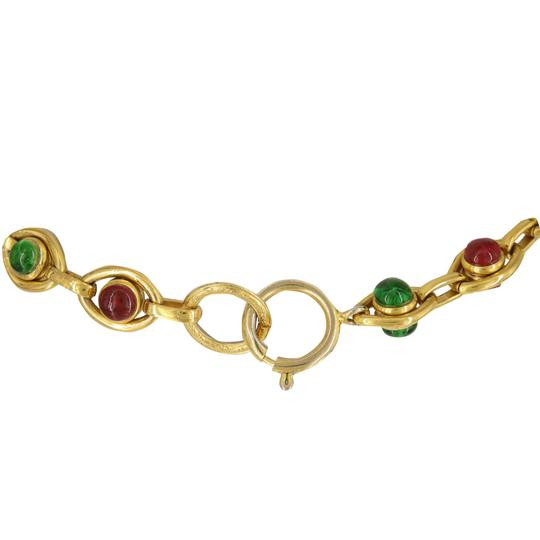 Chanel Vintage 1980's Chanel Red & Green Gripoix Open Cross 32