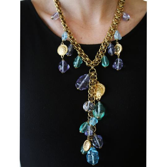 """Chanel Vintage 1985 Chanel Sea Foam Green, Sky Blue & Purple Resin Drop With Coin Double Round Link 20"""" Necklace"""