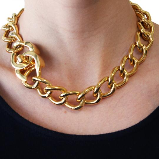 Chanel Vintage 1995 Fall & 1997 Spring Collection Chanel Gold Plated Large Logo Curb Chain Adjustable Necklace Bracelet Combo