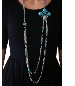 Chanel Vintage 2007 Fall Collection Chanel Round & Oval Turquoise Colored Beads & Crystal Tweed Motif Pin Necklace