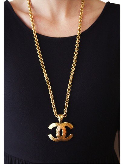 Chanel Vintage 1994 Spring Collection Chanel Large Gold Plated Logo Pendant 30