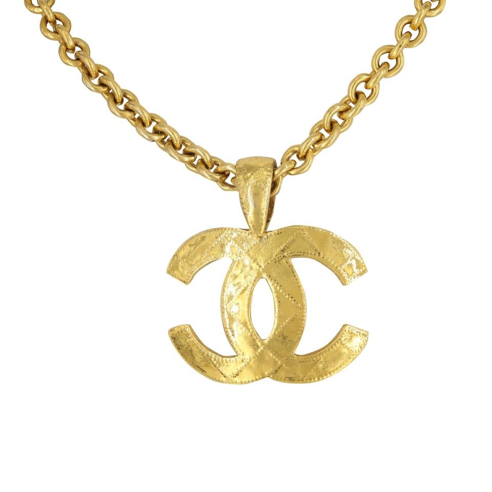 vintage gold yellow logo plated i pendant spring large necklace chanel chain collection tradesy