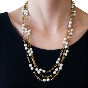 Chanel Vintage 1980's Chanel Faux Pearl & Crystal Rondelle Gold Plated 70