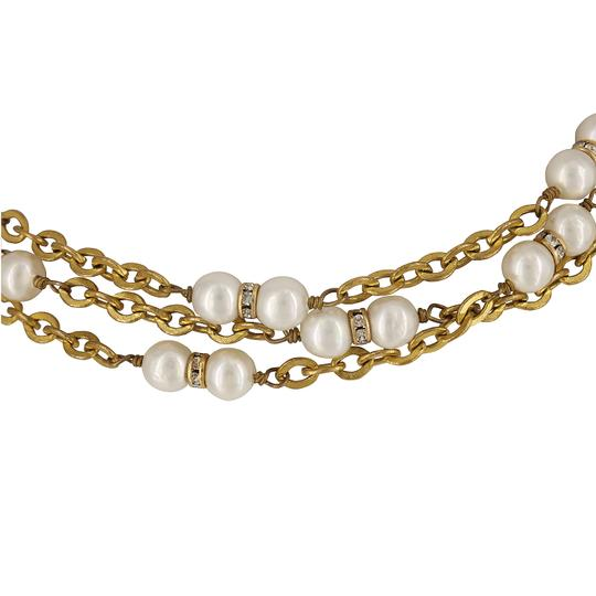"Chanel Vintage 1980's Chanel Faux Pearl & Crystal Rondelle Gold Plated 70"" Necklace"