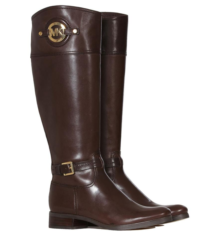 michael kors cofee brown boots stockard leather