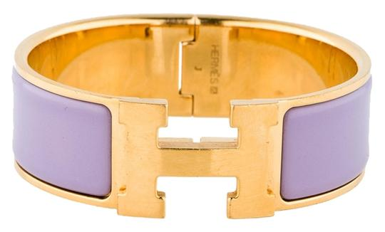 Hermès Gold-tone Hermes light purple enamel Wide Clic Clac H lock bracelet J 2006