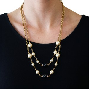 Chanel Vintage 1996 Fall Collection Chanel Gold Plated Faux Pearl & Black Beaded Crystal 48