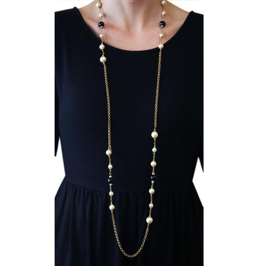 "Chanel Vintage 1996 Fall Collection Chanel Gold Plated Faux Pearl & Black Beaded Crystal 48"" Necklace"