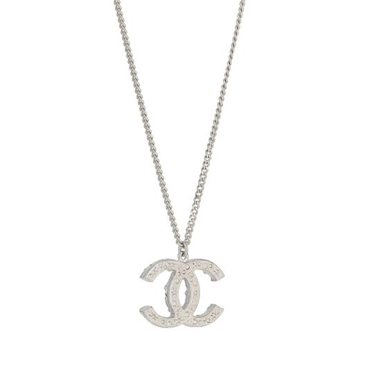 Chanel Vintage 2014 Spring Collection Chanel Silver Plated Strass Crystal Logo Pendant Adjustable 18