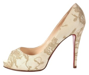 Christian Louboutin Satin Lace Peep Toe Lb.j0729.13 Size 40.5 Pumps