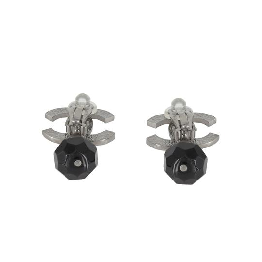 """Chanel Vintage 2013 Boutique Collection Chanel Silver Plated Engraved Double """"C"""" Large Black Bead Drop Clip On Earrings"""