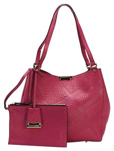 Burberry Leather Embossed Check Tote in Fuchsia Pink