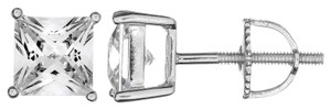 Real Genuine Solid 925 Sterling Silver 4mm Square Cut .25ct Cubic Zirconia Screw