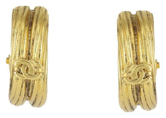 Chanel Vintage 2003 Spring Collection Chanel Gold Plated Logo Huggie Clip On Earrings