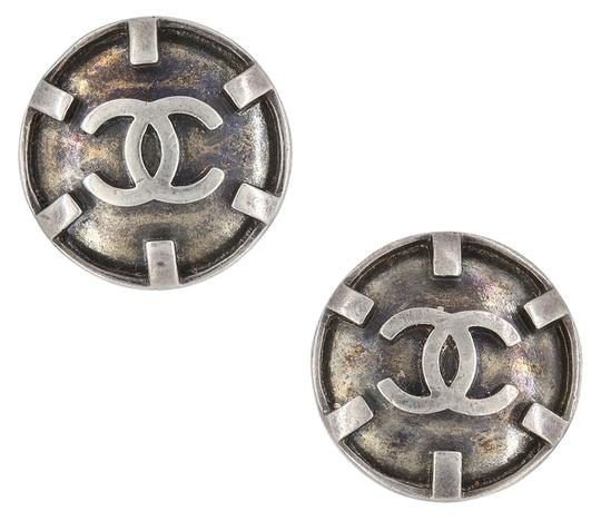 Chanel Vintage 1996 Spring Collection Chanel Blackened Silver Color Byzance Clip On Earrings