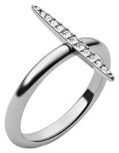 Michael Kors MKJ3523 Michael Kors Matchstick Ring Silver Tone Crystal Pave Size 8