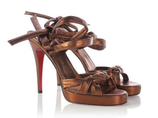Christian Louboutin Leather Bronze Lb.j0729.08 Size 40 Sandals