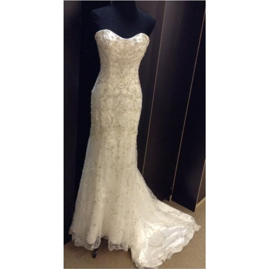 Maggie Sottero Ivory Tulle Over Satin Lola Formal Wedding Dress Size 2 (XS)