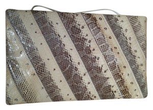 Snakeskin Genuine white/gray Clutch