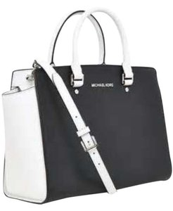 Michael Kors Selma Medium Leather Satchel in Black/white