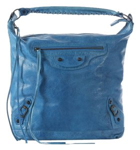 Balenciaga Bg.j0727.09 Blue Distressed Leather Brass Shoulder Bag