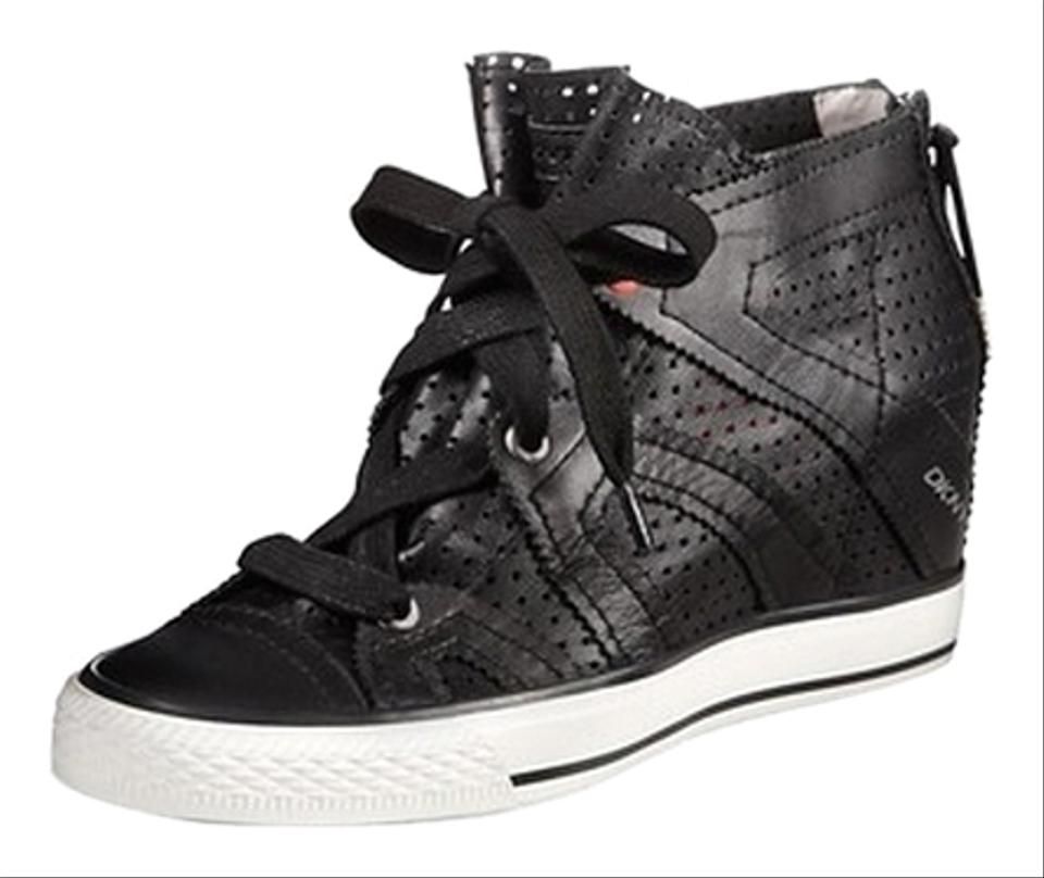 35954ccc903 DKNY Donna Karan Leather Perforated Leather Sneaker Black Wedges Image 0 ...
