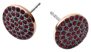 Michael Kors MKJ3896 Michael Kors Women Disc Stud Earrings Rose Gold Tone Red Crystals