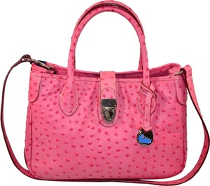 Dooney & Bourke Osrich Emb Leather Satchel in Hot Pink