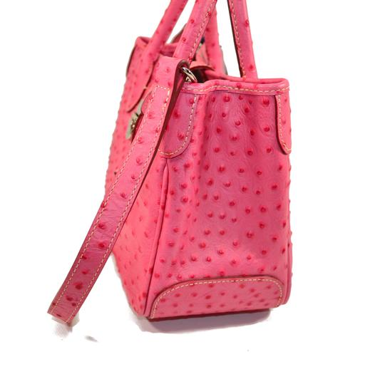 Dooney & Bourke Osrich Emb Leather And Lined And Divided Satchel in Hot Pink