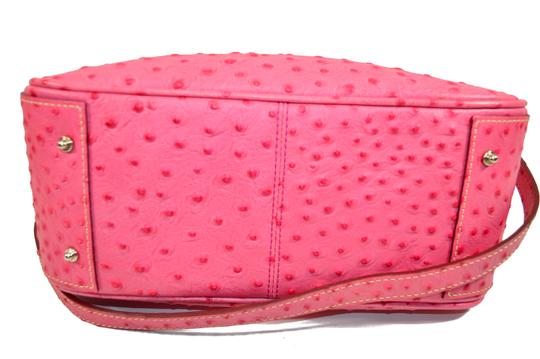 Dooney & Bourke Osrich Emb Leather Lined And Divided Satchel in Hot Pink