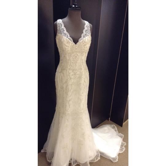 Maggie Sottero Ivory/Silver Beaded Tulle Blakely Formal Dress Size 8 (M)