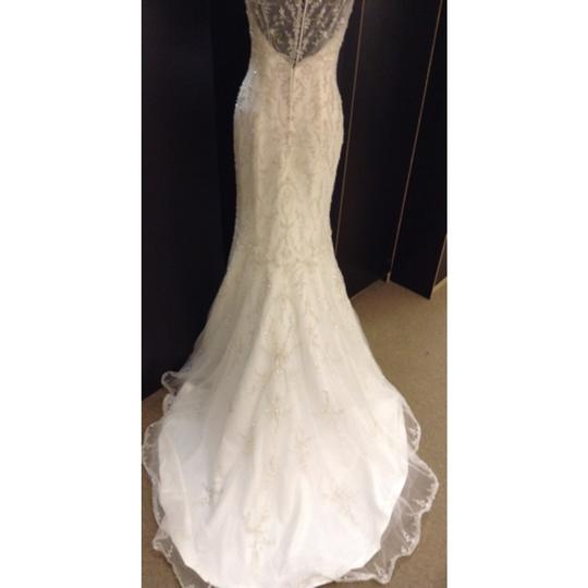 Maggie Sottero Ivory/Silver Beaded Tulle Blakely Formal Wedding Dress Size 8 (M)