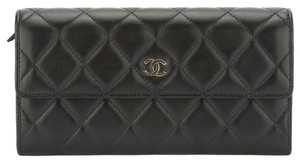 Chanel Chanel Black Lambskin Long Wallet (Authentic Pre Owned)