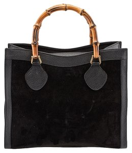 Gucci Vintage Bamboo Leather Suede Tote in Black