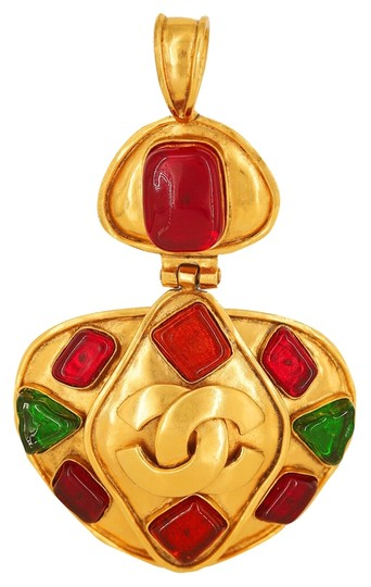 Chanel Vintage 1995 Spring Collection Chanel Green, Orange & Red Resin Logo Hinged Pendant