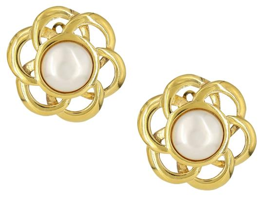 Chanel Vintage 1980's Chanel Gold Plated Open Flower Pearl Clip On Earrings