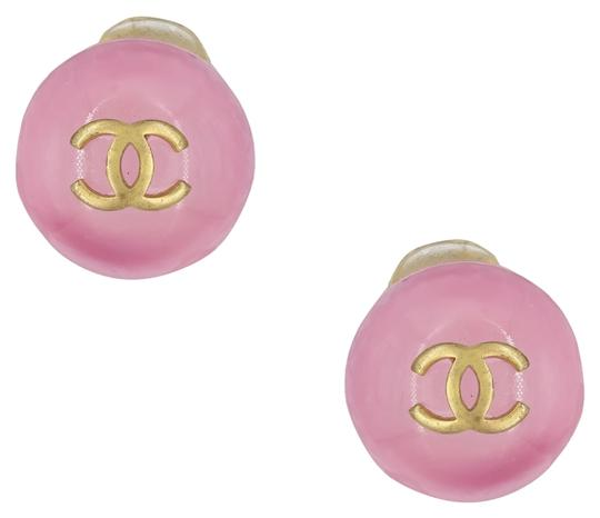 Chanel Vintage 2001 Fall Collection Chanel Gold Plated Pink Glass Round Logo Clip On Earrings