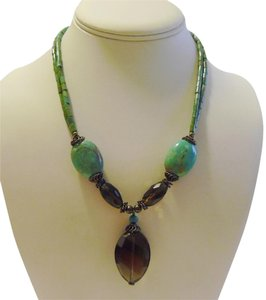 Other Vintage Turquoise and Smokey Quartz 17 Inch Necklace