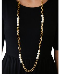 "Chanel Vintage 1993 Cruise Collection Chanel Faux Pearls & Gold Plated Twisted Link 44"" Necklace"