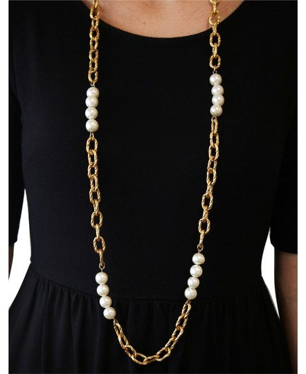 """Chanel Vintage 1993 Cruise Collection Chanel Faux Pearls & Gold Plated Twisted Link 44"""" Necklace"""