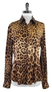 Dolce&Gabbana Animal Print Silk Top Brown