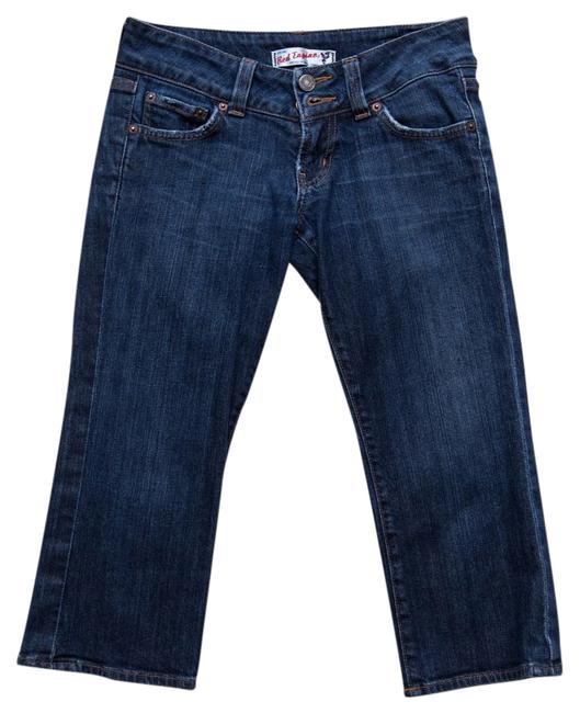 Red Engine Double Buttons Capri/Cropped Denim-Medium Wash